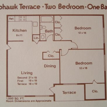Two Bedroom, One Bath, 1,000 sq ft